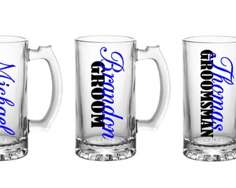 Bridal Party Beer Steins, Groomsman gifts, personalized beer glass
