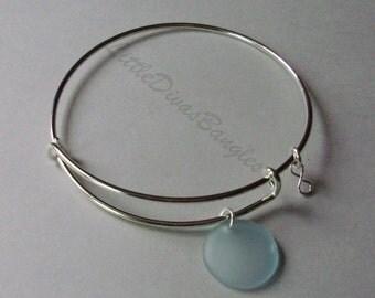 Aqua SEA GLASS W/  A Sterling Silver Infinity Figure 8 Dangle /  Adjustable Bangle / Beach Glass  Charm / Gift For Her  USA Under 20  GL1