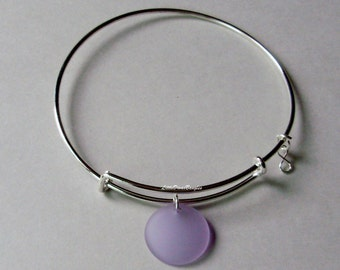 Periwinkle SEA GLASS W/  A Silver Infinity Figure 8 Dangle /  Adjustable Bangle / Beach Glass  Charm / Gift For Her  USA Gl1