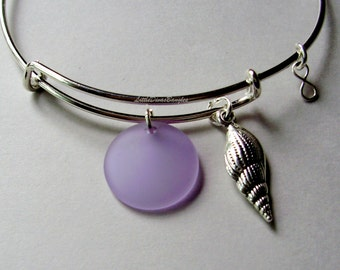 Silver Sea Shell / Periwinkle SEA GLASS W/ Silver Infinity  Drop /  Adjustable Bangle / Beach Glass  Charm / Gift For Her  USA Gl1