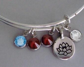 LOTUS Flower Charm Bangle  W/ Birhstone Drops / Gift For Her / Silver Infinity Accent / Under Twenty / Usa TR1