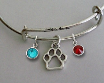 Paw CHARM W/ Birhstone Drops / Gift For Her / Silver Infinity Accent / Under Twenty / Birthstone Bracelet  /  Stackable Bangles / Usa P1
