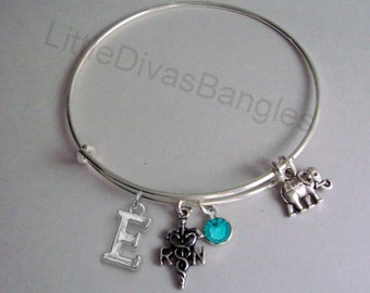 REGISTERED NURSE  / ELEPHANT Charm  Adjustable Bangle W/ Initial / Birthstone Drop / Bangle Bracelet / Jewelry / Gift For Her- Usa N1