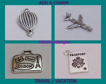 TRAVEL  / Vacation CHARMS - Add A Charm Drop Dangle / Passport -  Plane - Suitcase -Personalize Your Bangle  charms / Usa  CH 1