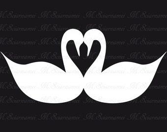 Swan-Silhouette-Printable-Wedding-Decor-Instant Download-Black-White-Scrapbook-Clip art-Digital Image