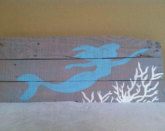 Mermaid & Coral Wood Sign