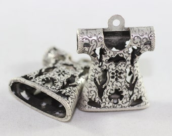 3 Pcs 27 mm Antique Silver Textiled Filigree Caftan Pendant, Robe Charms, Tasbeeh Supplies, Filigree with Tulips TSP 01
