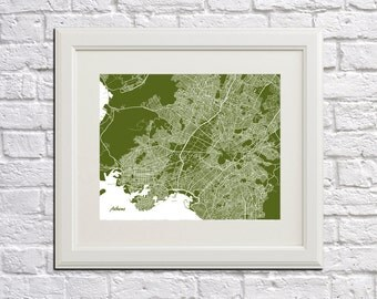 Athens Street Map Print Map of Athens City Street Map Greece Poster City Art Poster