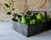 Vintage Industrial Metal Tote - Tool Carrier - Metal Basket - Garden Decor - Industrial Storage