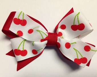 """3.5"""" red cherry cherries white rockabilly hair bow clip birthday party Halloween costume pinwheel stacked baby toddler teen adult hipster"""