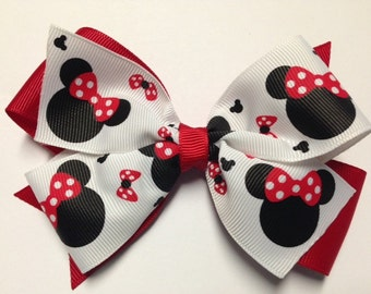 "5"" red white black polka dot hair bow clip baby toddler teen adult Halloween birthday party costume Valentine's Day minnie mouse"