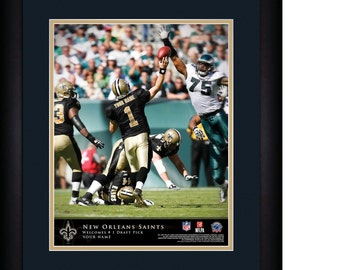 """NFL New Orleans Saints Personalized MATTED and FRAMED"""" Quarterback Hero """"Print 15x18"""