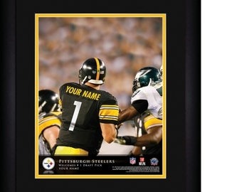 """NFL Pittsburgh Steelers Personalized MATTED and FRAMED"""" Quarterback Hero """"Print 15x18"""