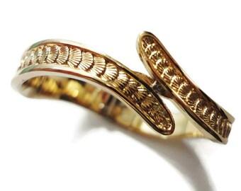Monet Clamper Bracelet, Gold Tone Curved Shell Design