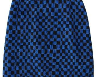 Vintage  Checkered Black and Blue Mini Skirt Medium