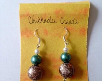 Nature Aesthetic Earrings Bronze/Teal/Pearl