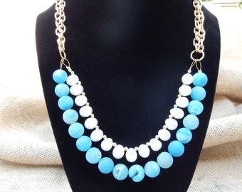 Blue Druzy Beads and Pearl Bib Necklace