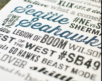 Seattle Seahawks Subway Poster Print - Digital File - Wall Art - Typography