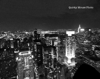 Instant Digital Download, New York Skyline Photography, Black and White, Still Life, Fine Arts, Wall Art, Instant Digital Photo, Night