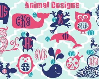 New Designs - Monogrammed Animal Vinyl Decals - Monogrammed Decals - Monogram Vinyl - Whale - peacock - turtle - lizard - frog - dolphin