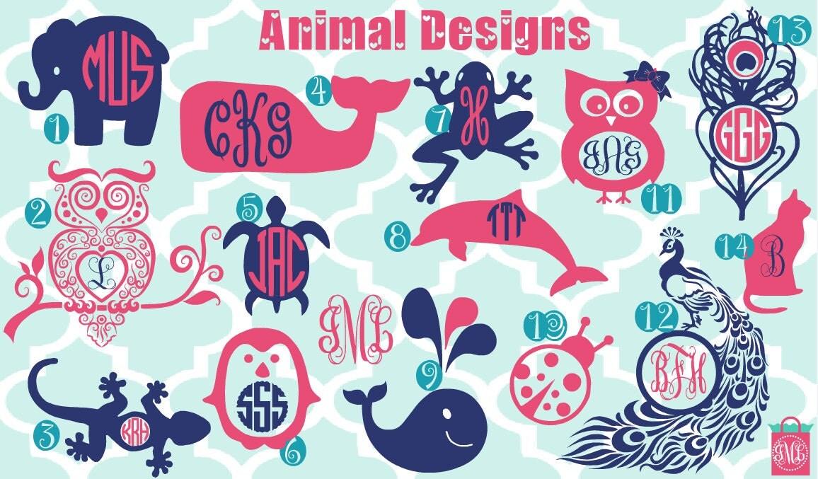 New Designs Monogrammed Animal Vinyl Decals Monogrammed
