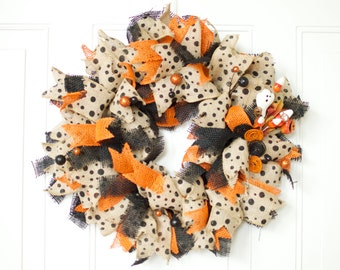 "Halloween Wreath Sale 10% Off 20"" Black and Orange Burlap Halloween Wreath Halloween Decor Door Wreath Halloween Primitive READY TO SHIP"