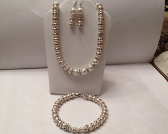 Beautiful Swarovski Crystal Pearl Bridal Set