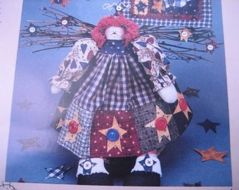 """UNCUT Raggedy Anne style 11 1/2"""" doll & Mini Wall Quilt - Primitive Pattern c. 1995 from Home Spun at Heart 41"""