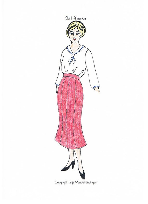 1930s Sewing Patterns- Dresses, Pants, Tops Skirt Amanda - PDF Pattern Size US6/UK10/DE36 and US8/UK12/DE38 $8.24 AT vintagedancer.com