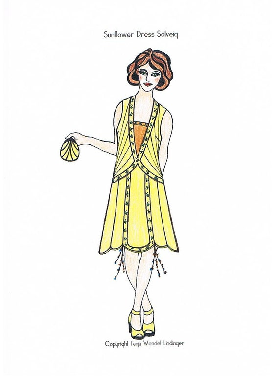 1920s Patterns – Vintage, Reproduction Sewing Patterns Sunflower Dress Solveig - PDF Pattern Size US4/UK8/DE34 $11.90 AT vintagedancer.com