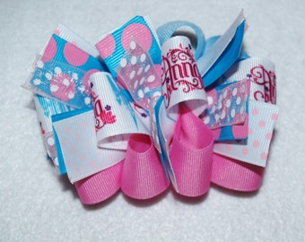 Frozen Inspired Loopy Bow, Anna and Elsa Loopy Hair Bow, Funky Loopy Bow