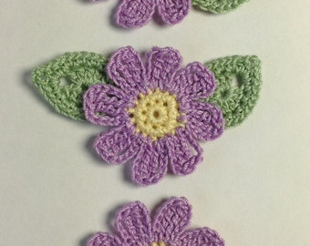 Crocheted Flower and Leaf Appliqués - set of 3 (#06-09)
