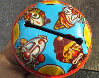 Vintage Tin Noisemaker with Clowns