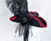 Victorian Tricorn Hat in Burgundy and Black-Victorian Tricorn-Victorian Hat-Tricorn- Marie Antoinette Hat - Baroque - Rococo-READY TO SHIP