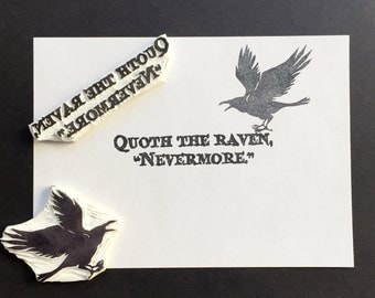 """quoth the raven the raven poem Quoth the raven """"nevermore"""" much i marvelled this ungainly fowl to hear discourse so plainly, though its answer little meaning—little relevancy bore for we cannot help agreeing that no living human being ever yet was blessed with seeing bird above his chamber door— bird or beast upon the sculptured bust above."""