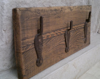 Rustic reclaimed wood coat rack