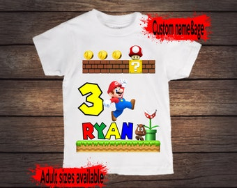 Super Mario birthday shirt, custom with name and age