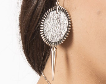 Modern silver zipper earrings, urban style leather earrings