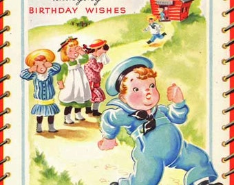 Vintage Georgie Porgie Nursery Rhyme Birthday Card with Musical Insert