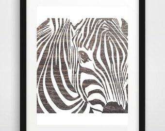 Zebra print, Zebra Wall Print, Wood Grey Zebra, Rustic Decor, Rustic zebra art, African Art, African Zebra Art, Animal art print