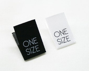 Printed Satin One Size Tabs - White Color with Black Text or Black Color with White Text Clothing Labels - Centerfold