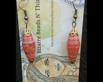 HANDMADE PAPER BEAD Earrings - Fall