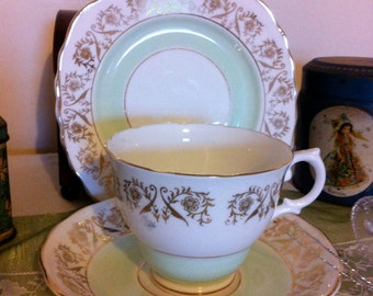 Vintage Teacup, Saucer and Tea Plate Pale Green, white and gold