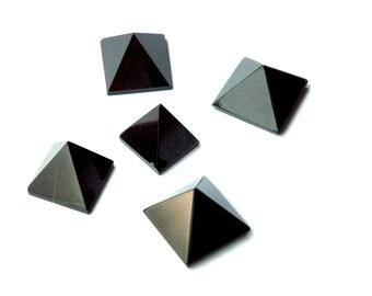 Black Agate Pyramids - Set Of Five