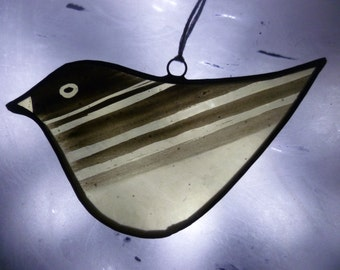 Hand painted bird - stained glass ornament