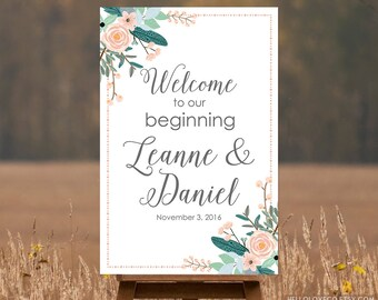 PRINTABLE Large Wedding Welcome Sign, Personalized Wedding Sign, Welcome to our Beginning Sign, Pink Floral Bouquet Sign, DIGITAL FILE