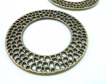 5pcs Circle Charm- Antique Bronze Huge Round Rings Circle Charm Pendant 50mm C6235