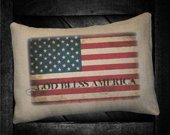 "God Bless American Flag 12""x16"" Pillow Set"