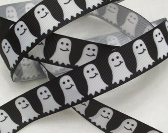 "CLEARANCE - Buy 10Y for 35 Cents/Y -Halloween Ghosts 7/8"" Grosgrain Ribbon"