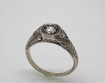 Sterling Silver 925 White Stone Engagement Ring